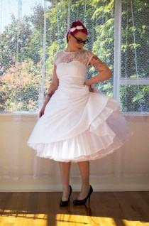 wedding photo - 1950s Rockabilly Wedding Dress 'Lacey' with Lace Overlay, Sweetheart Neckline, Tea Length Skirt and Petticoat - Custom made to fit