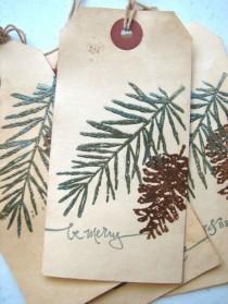 wedding photo - Christmas Gift Tag, Pine Tree Pine Cone Woodland Gift Tag