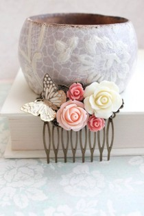 wedding photo - Bridal Hair Comb Romantic Pink And Gold Wedding Hair Accessories Butterfly Floral Collage Comb Country Chic Blush Pink Rose Bridesmaids Gift
