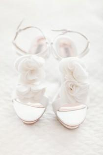 wedding photo - T Strap Shoes With Sheer Rosettes
