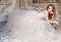 wedding photo - Jim Hjelm Rose Embroidered Nude Tulle Bridal Gown!