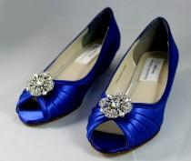 wedding photo - Royal Blue Wedding Shoes wedge -- 1 wedge heels- Low heel wedge- Wide widths shoes available
