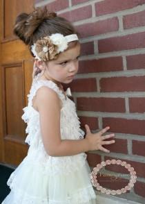 wedding photo - Burlap Shabby Chic Flower Girl Headband , Flower Girl Hair Piece, Flower Girl Lace Headband , Lace Girls Headband, country wedding, rustic