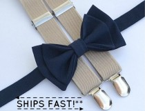 wedding photo - Bow Tie and Suspenders -- Navy Bow Tie & Tan Suspenders -- Ring Bearer Outfit -- Boys Wedding Outfit