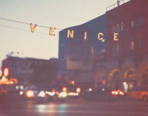 wedding photo - Photography, Venice Beach Sign At Night Photograph, California Travel, Beach Decor, Los Angeles Summer Vacation, Dreamy Bokeh, Art Print