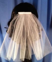 wedding photo - Single Tier Communion Veil Hair Comb w/Faux Pearl or Rhinestone Comb White Ivory Pink Red Purple Aqua V-Patricia