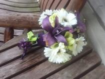 wedding photo - Real Touch Rose and Purple Lily Silk Bridal Bouquet / Grooms Boutonniere / Silk Wedding Flowers / Artificial Wedding Flowers / Fall Wedding