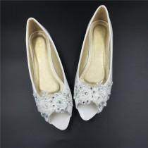 wedding photo - Bridal Peep-toe Lace Wedding Shoes-All Full Sizes-Open Toe Lace Wedding Bridal Shoes,Size 4 5 6 7 8 9 10 11 12 Size 4~12.5