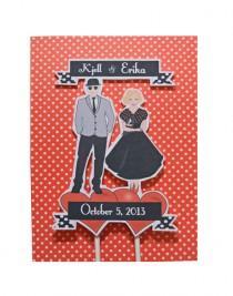 wedding photo - Wedding Cake Topper Custom Bride Groom DIY Illustration Rockabilly Retro Vintage