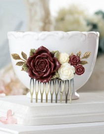 wedding photo - Burgundy Marsala Wedding Hair Comb Ivory Maroon Dark Red Gold Leaf Branch Floral Flower Bridal Hair Comb Bridesmaid Gift Country Chic