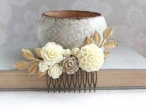 wedding photo - Gold Ivory Cream Bridal Hair Comb Vintage Style Country Chic Wedding Bridesmaid Gift Chrysanthemum Dahlia Rose Floral Hair Piece Gold Branch