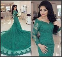Designer Arabic Turquoise 2016 Green Mermaid Evening Dresses Long Sleeves  Cheap Sexy Lace Appliques Formal Party Prom Gowns Celebrity Dress Online  with ... 0a62edaa13b0