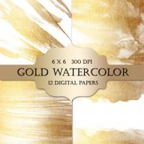wedding photo - Gold Watercolor Digital Papers  - gold glitter watercolor metallic sparkle paint backgrounds for scrapbooking, wedding invitations, cards