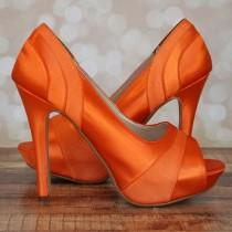wedding photo - Orange Wedding Shoes -- Orange Platform Peeptoes with Chiffon Panels