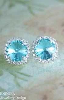 wedding photo - Stud Earrings,crystal Stud Earrings,turquoise Earrings,swarovski Earrings,swarovski Turquoise Earrings,turquoise Wedding,crystal Earrings