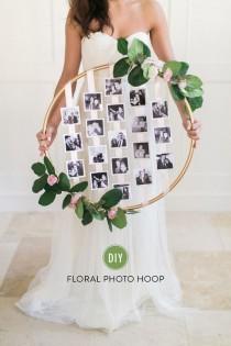 wedding photo - DIY Floral Photo Hoop
