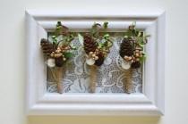 wedding photo - Winter Boutonniere, Gold Boutonniere, Woodland Boutonniere, Succulent Boutonniere, Grooms Lapel Pin, Gold Green Wedding, Sparkling