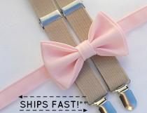 wedding photo - Light Pink Bow Tie & Tan Suspenders -- Ring Bearer Outfit -- Boys Wedding Outfit