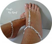wedding photo - Wedding Barefoot Sandals Coachella Shoes Beach Boho Shoes Bohemian Silver Bridal Shoes Wedding Shoes Beach Wedding Festival - Leafs