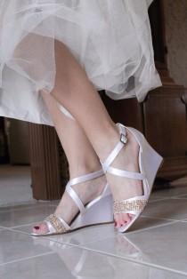 wedding photo - Wedding shoes low heel high heel wedge sandals bridal shoes embellished rose gold metallic beaded sequin lace trim