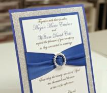 wedding photo - Stunning DIY Royal Blue & Silver Glitter Wedding Invitation Full of Bling, Sparkle, and Dazzle