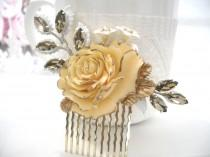 wedding photo - Champagne gold tipped rose comb Ivory Gold comb Crystal gold silver hair accessory, Bridal comb, Bridesmaids gifts, Country wedding comb TR4