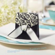wedding photo - hortense b. hewit black & ivory flourish favor boxes