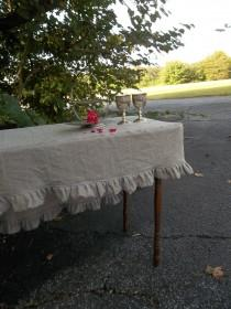 wedding photo - Slipcover Linen Tablecloth Ruffled Tablecloth Fitted Tablecloth Custom Sizes Linen Table Cover French Prairie Wedding Decor Table Settings