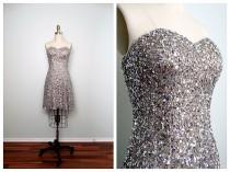 wedding photo - Silver Sequined Dress // Strapless Party Dress // Charcoal Gray Sequin Beaded Mini Dress XS S