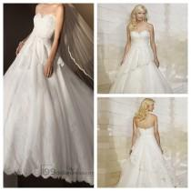 wedding photo - Strapless Semi Sweetheart Lace Ball Gown Wedding Dresses