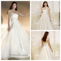 wedding photo - Strapless A-line Designer Wedding Dresses
