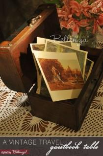 wedding photo - A Wedding Wish Guest Book Table For A Vintage Travel Theme
