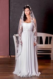 wedding photo - Mantilla veil,lace wedding veil,waltz length,long veil,Beaded Veil,custom veil,single tier veil,one tier veil,white tulle veil,Tulle Veil,
