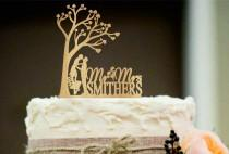 wedding photo - Rustic Wedding Cake Topper, Personalized Wedding Cake Topper, Silhouette wedding cake topper, Funny cake topper, unique wedding cake topper