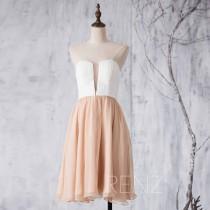 wedding photo - 2015 White Champagne Bridesmaid dress, Hollow Sweetheart Wedding dress, Short A Line Formal dress, Strapless Prom dress knee length (F297)