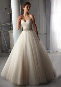 wedding photo - A Line Perfect Belt Strapless Lace Up Wedding Dress