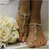 2808a8b9b6d wedding photo - Gold barefoot sandals wedding
