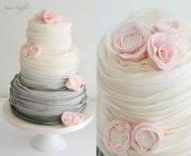wedding photo - Grey Ombre Pink Wedding Cake