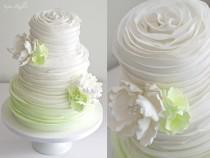 wedding photo - Green Ombre Ruffle Wedding Cake