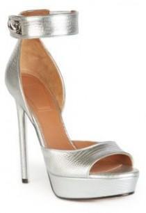 76e609081911 Givenchy Lizard-Print Metallic Leather Shark Lock Sandals. Embossed ...