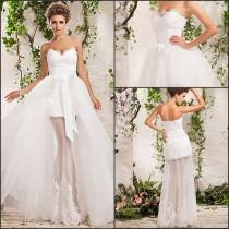 wedding photo - Wedding Dress Uk  2015 Wedding Dresses A Line Floor Length Two In One Tulle Sweetheart And Strapless With Lace Appliques And Removable Train Ribbon Bow Th Wedding Dresses For Sale From Inweddingdress, $158.96