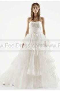 wedding photo - NEW! White by Vera Wang Strapless Tulle Wedding Dress VW351197