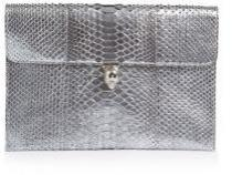 wedding photo - Alexander McQueen Metallic Python Envelope Clutch