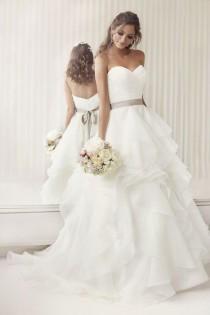 wedding photo - Elegantly Crafted Ruffled Essense Of Australia Strapless Wedding Dresses With Ribbon