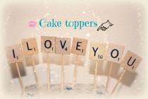 wedding photo - I love You Wedding Cake Topper, I love you Cake Topper, Scrabble Cake Topper, Wedding CakeTopper, I love You Cake, Wedding Cake, I Love You