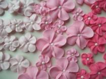 wedding photo - Shades of pink royal icing flowers -- Ombre -- Cake decorations cupcake toppers edible (48 pieces)
