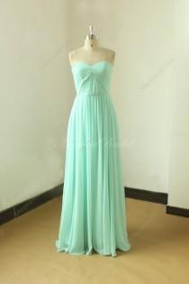 wedding photo - Simple strapless mint blue bridesmaid dress, prom gown,homecoming dress with sweetheart neckline