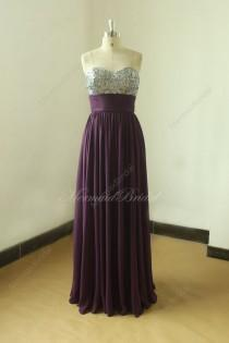 wedding photo - Simple strapless eggplant bridesmaid dress, prom gown,homecoming dress with sequined top