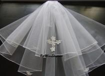 "wedding photo - Communion Veil 2 Tier w Cross motif Pencil or Ribbon EDGE 1st tier 20"" 2nd tier 25"" White or Ivory First Holy communion Veil detachable comb"