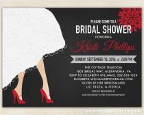wedding photo - Bridal Shower Invitation with Wedding Dress Hem & High Heel Shoes in Red and Black, Pink, Yellow or Custom Color  // DIY Digital PRINTABLES